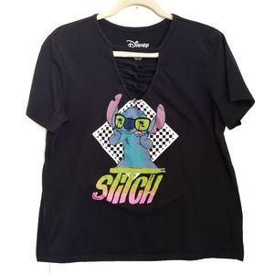 Disney Stitch Short Sleeve V-Neck T-Shirt Size XL